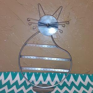 Metal kitty cat earring jewelry holder